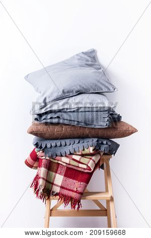 Stacked Colorful Pillows Cushion Plaid Linen Textile