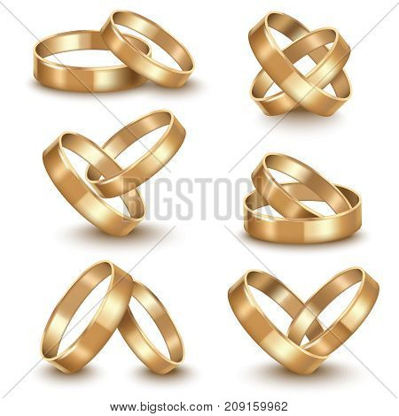 Realistic Detailed Golden Wedding Rings Set Symbol of Marriage Romantic Luxury Shiny Jewelry Gift. Vector illustration of Gold Ring