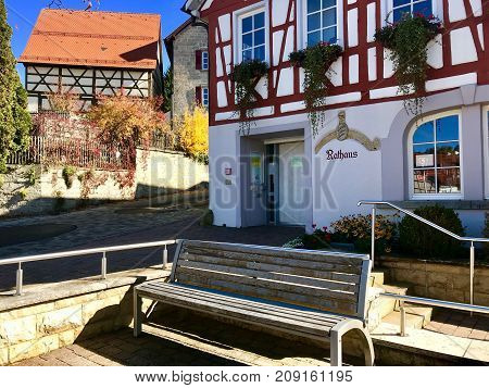 Townhall of Erpfingen in the Swabian Alb, Germany on a sunny autumn day