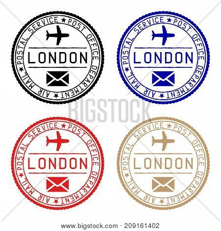 London mail stamps. Colored set of round impress. Vector illustration isolated on white background