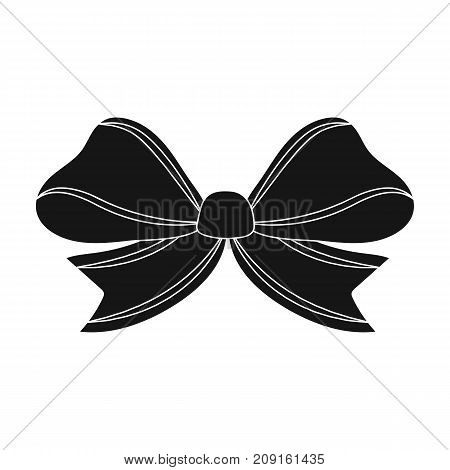 Node, ornamentals, frippery, and other  icon in black style.Bow ribbon decoration