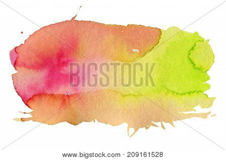 Pink and green watercolor spot isolated on a white background.