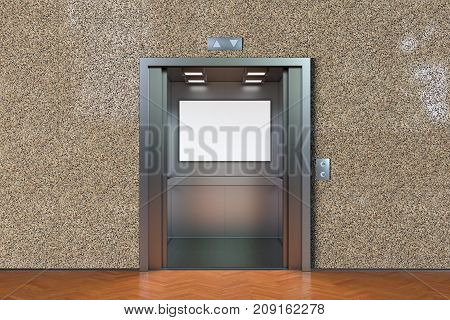 Empty Elevator Cabin With Open Doors