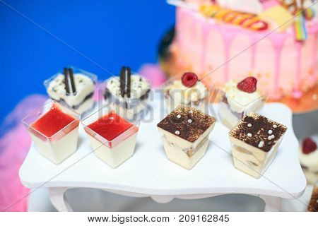 Assortment of pastries and chocolate desserts. Concept birthday party party wedding catering.