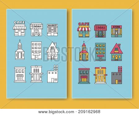 Set of vector flat design buildings icons Apartment, Residential, cafe, store, church. Icons in color and black-and-white versions