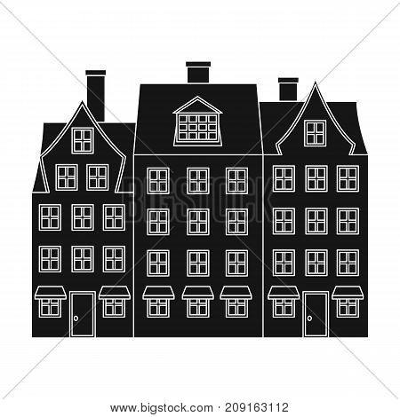 Building single icon in black style.Building, vector symbol stock illustration .
