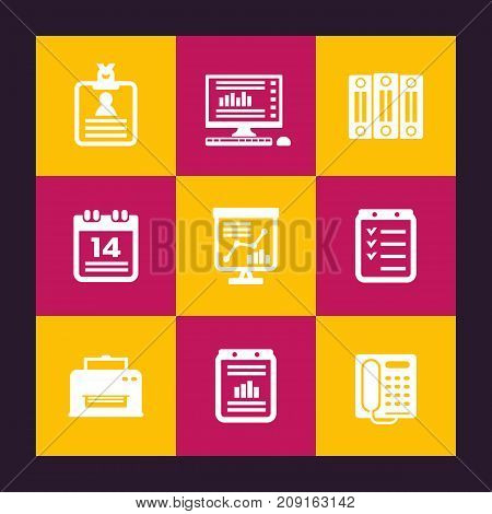 office icons set, documents, folders, schedule, calendar, fax, printer, computer