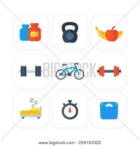 Fitness, gym icons set in flat style, eps 10 file, easy to edit