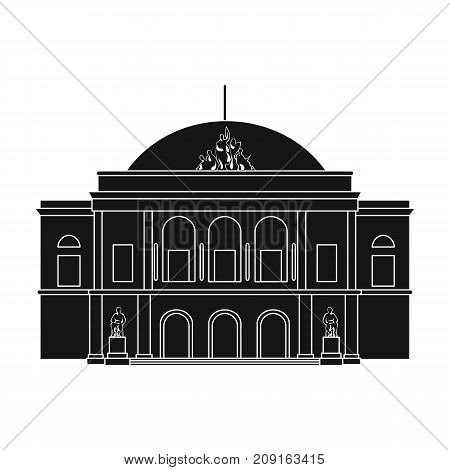 Building, single icon in black style.Building vector symbol stock illustration .