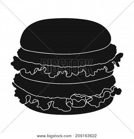Hamburger, single icon in black style.Hamburger vector symbol stock illustration .