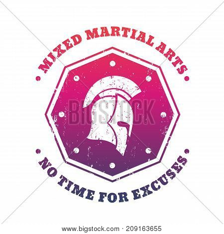 MMA, mixed martial arts emblem, logo with spartan helmet on octagon shape over white, vector illustration