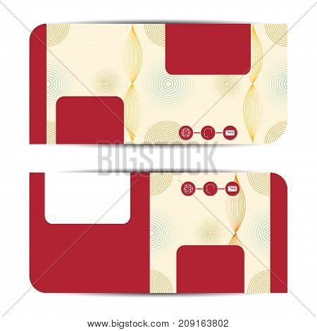 Blank of gift voucher illustration on the beige and red background with pattern.