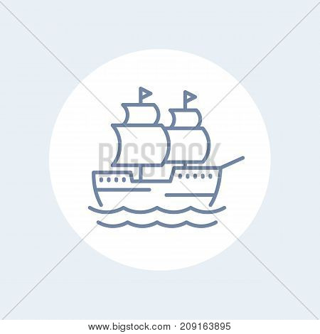 sailing vessel, ship line icon isolated over white, eps 10 file, easy to edit