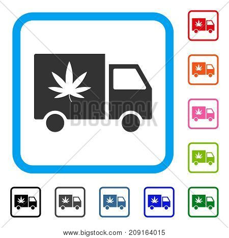 Cannabis Delivery Van icon. Flat grey pictogram symbol in a light blue rounded squared frame. Black, gray, green, blue, red, orange color variants of Cannabis Delivery Van vector.