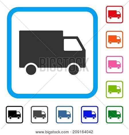 Cargo Van icon. Flat grey iconic symbol inside a light blue rounded rectangle. Black, gray, green, blue, red, orange color versions of Cargo Van vector.