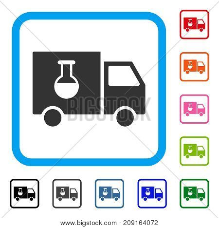 Chemical Delivery Truck icon. Flat gray pictogram symbol inside a light blue rounded squared frame. Black, gray, green, blue, red, orange color variants of Chemical Delivery Truck vector.