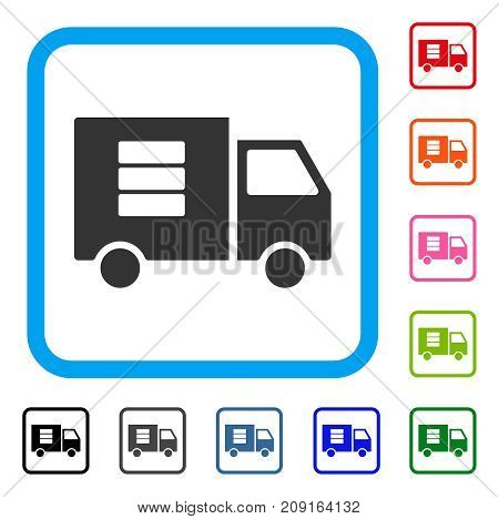 Data Transfer Van icon. Flat gray pictogram symbol inside a light blue rounded rectangular frame. Black, gray, green, blue, red, orange color additional versions of Data Transfer Van vector.