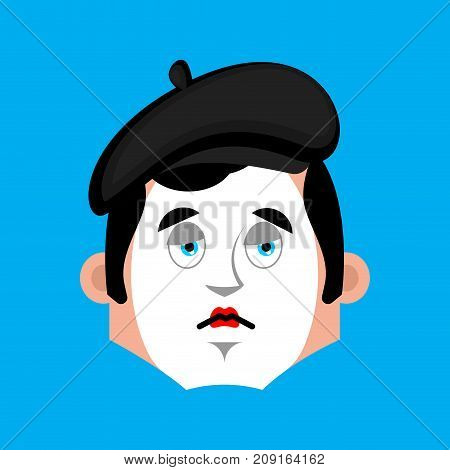 Mime sad emotion avatar. pantomime sorrowful emoji. mimic fsce. Vector illustration poster