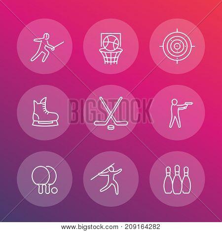 sports, games, team sport line icons set, fencing, hockey, skating, ping pong, basketball, bowling pins