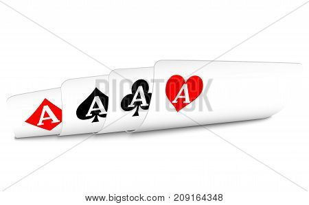 Four aces bent to the face, secretly looking from all. Casino. Stock Illustration EPS 10