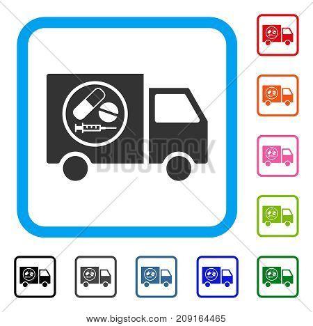 Drugstore Truck icon. Flat grey pictogram symbol inside a light blue rounded rectangular frame. Black, gray, green, blue, red, orange color additional versions of Drugstore Truck vector.
