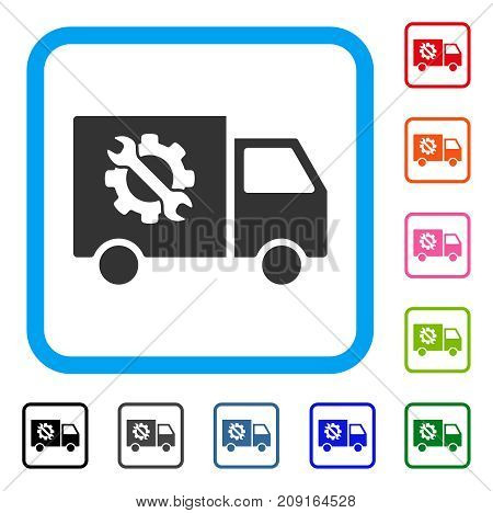 Equipment Truck icon. Flat grey pictogram symbol in a light blue rounded frame. Black, gray, green, blue, red, orange color versions of Equipment Truck vector.