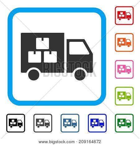 Goods Transportation Car icon. Flat gray iconic symbol in a light blue rounded rectangular frame. Black, gray, green, blue, red, orange color versions of Goods Transportation Car vector.