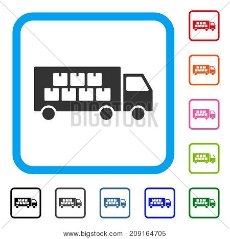 Goods Transportation Truck icon. Flat grey iconic symbol in a light blue rounded frame. Black, gray, green, blue, red, orange color variants of Goods Transportation Truck vector.
