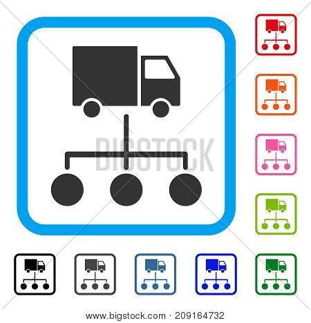 Lorry Distribution Scheme icon. Flat gray pictogram symbol in a light blue rounded frame. Black, gray, green, blue, red, orange color variants of Lorry Distribution Scheme vector.