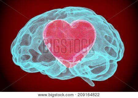 Heart inside brain smart love concept. 3D rendering