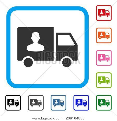 Passenger Transport Van icon. Flat gray pictogram symbol in a light blue rounded square. Black, gray, green, blue, red, orange color versions of Passenger Transport Van vector.
