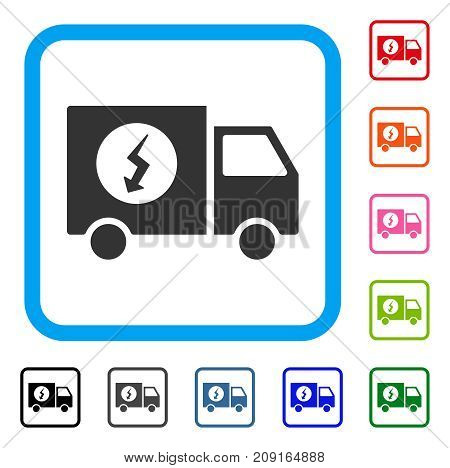 Power Supply Van icon. Flat gray iconic symbol in a light blue rounded frame. Black, gray, green, blue, red, orange color variants of Power Supply Van vector. Designed for web and software UI.