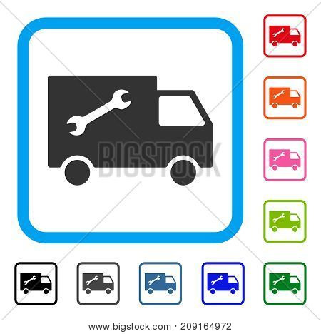 Repair Van icon. Flat gray iconic symbol inside a light blue rounded rectangle. Black, gray, green, blue, red, orange color additional versions of Repair Van vector.