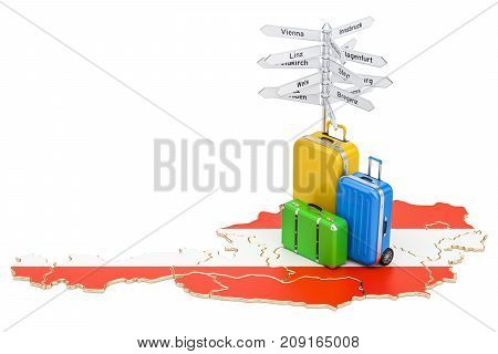 Austria travel concept. Austrian map with suitcases and signpost 3D rendering
