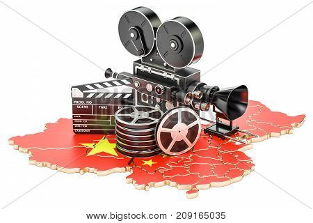 Chinese cinematography film industry concept. 3D rendering isolated on white background