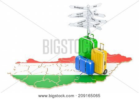 Hungary travel concept. Hungarian map with suitcases and signpost 3D rendering