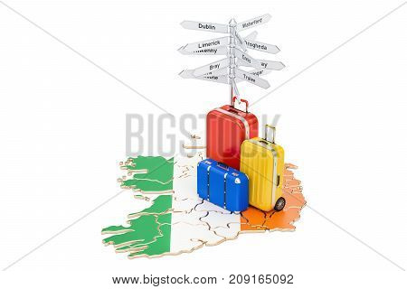 Ireland travel concept. Irish map with suitcases and signpost 3D rendering
