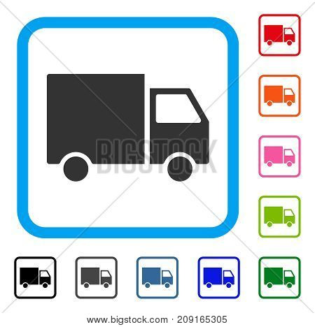 Shipment Van icon. Flat grey iconic symbol in a light blue rounded rectangle. Black, gray, green, blue, red, orange color variants of Shipment Van vector.