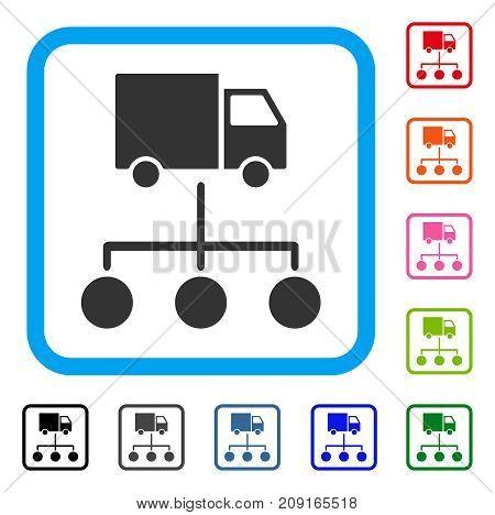 Truck Distribution Links icon. Flat grey pictogram symbol in a light blue rounded rectangular frame. Black, gray, green, blue, red, orange color additional versions of Truck Distribution Links vector.