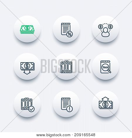 Bookkeeping line icons set, accounting, tax, payroll, costs, expense, outlay