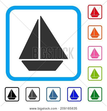 Yacht icon. Flat grey pictogram symbol inside a light blue rounded squared frame. Black, gray, green, blue, red, orange color additional versions of Yacht vector.