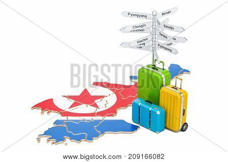 North Korea travel concept. Map with suitcases and signpost 3D rendering