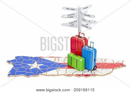 Puerto Rico travel concept. Map with suitcases and signpost 3D rendering