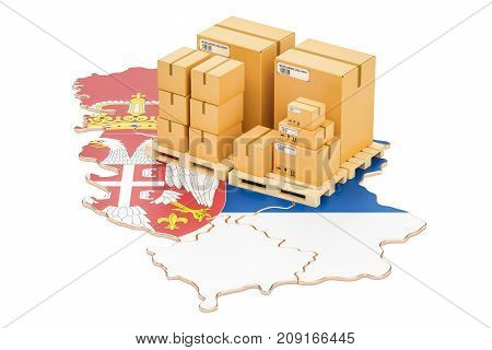 Shipping and Delivery from Serbia isolated on white background
