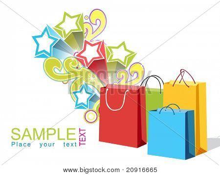 bolsas colores, diseño vectorial