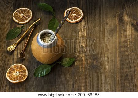 yerba mate, traditional south american drink with accesories