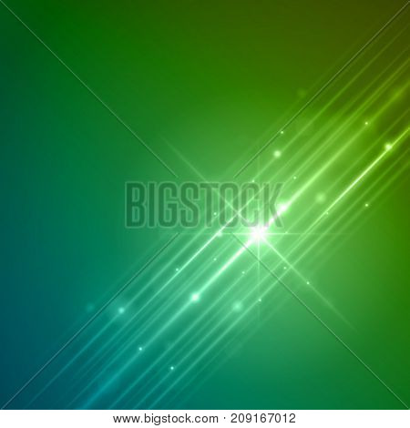 Smooth light blue green waves lines and Lens Flares vector abstract background. Good for promotion materials, brochures, banners. Abstract Backdrop, Glowing effects.