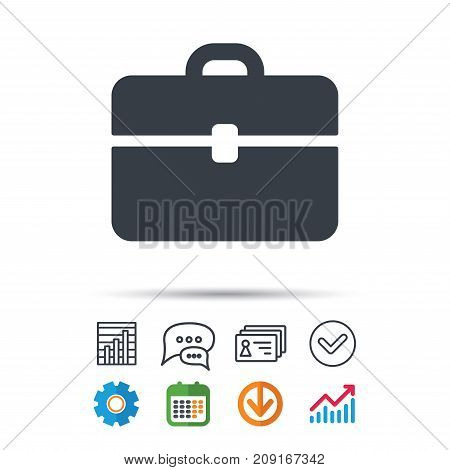 Briefcase Icon. Diplomat Handbag Symbol. Business Case Sign. Statistics Chart, Chat Speech Bubble An
