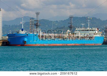 A large tanker for loading near the pier. Georgia. Batumi. Adjara.