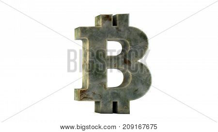 Bitcoin isolated on white background. Domination concept. New virtual money 3D rendering.
